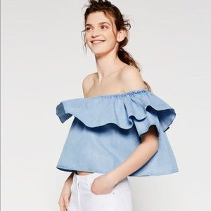 Zara Cold Shoulder Ruffle Top